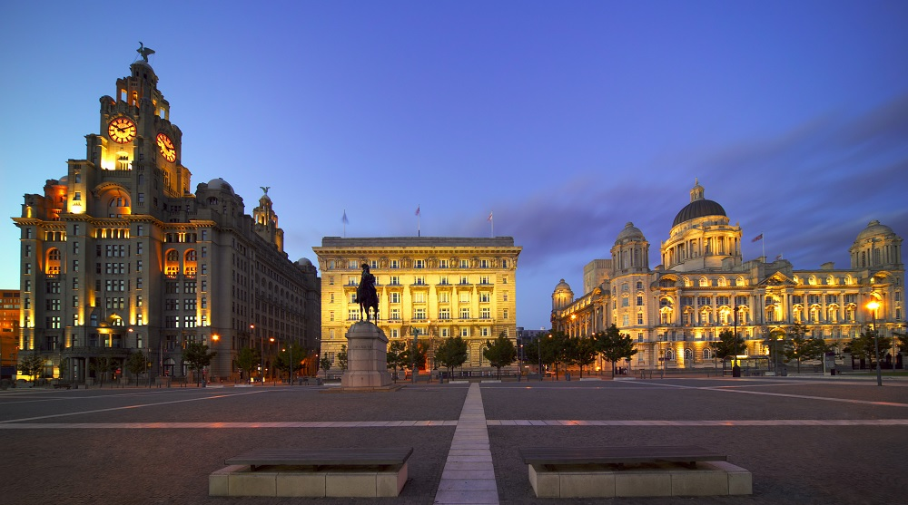 The Three Graces Buildings, Liverpool, Merseyside, England.